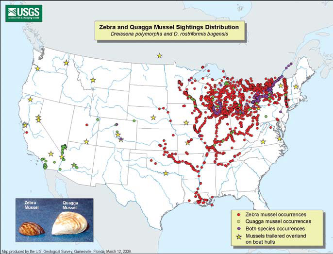 Invasive mussel distribution US map from New Mexico  Wildlife Curriculum lesson on aquatic aliens.