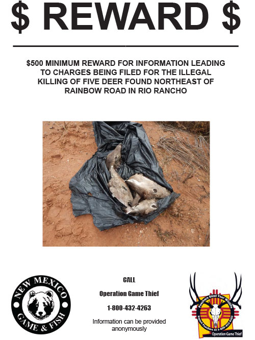 Reward for information leading to charges filed for killing of 5 deer in Rio Rancho, New Mexico.