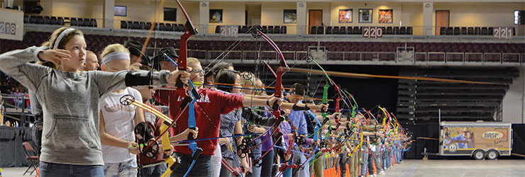 New Mexico Game & Fish officers, volunteers, and competing students at the National Archery in Schools Program tournament 2015.