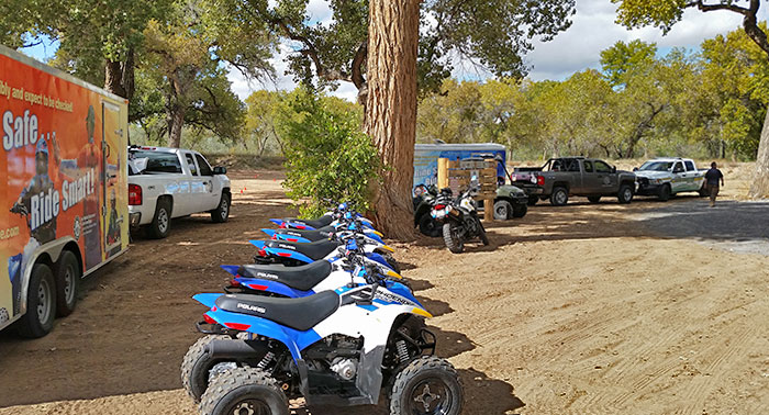 Instructor and youth at OHV off-highway vehicle free safety education class from New Mexico Department of Game and Fish