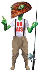 Aquatic Green Alien Zebra Mussel-Head in NO AIS tee-shirt and fishing waders (free image download) - New Mexico Department of Game and Fish