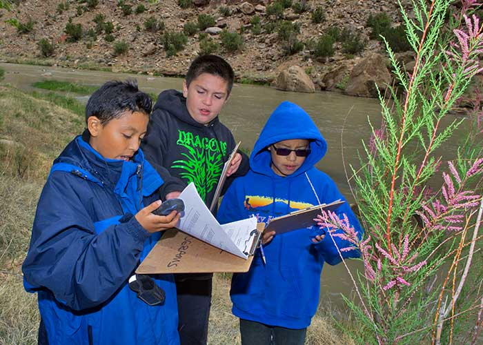 Española Valley students review key concepts, including the use of GPS and identifying non-native plants (Zen Mocarski).