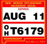 New Mexico OHV registration rules require non-resident riders to display a validation decal on their OHV off-highway vehicle.