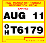 New Mexico OHV registration rules require resident riders to display a validation decal on their OHV off-highway vehicle.