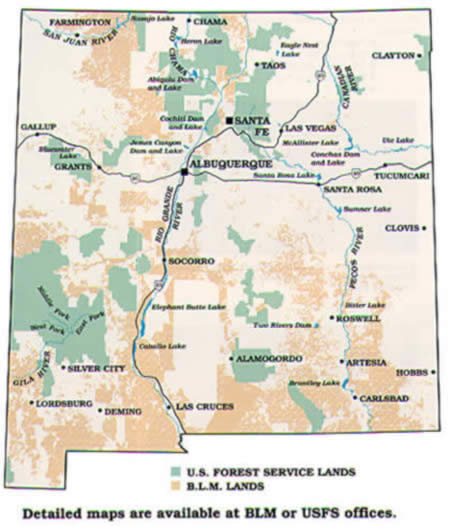 Habitat Improvement Stamp Or Validation Map For Usfs And Blm Lands And Waters In New Mexico