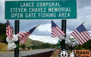 Open Gate Property 125  LCpl. Steven Chavez Memorial Fishing Area sign, Hondo, NM