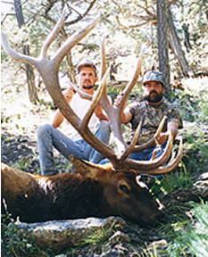 Chris Robb and guide with #2 New Mexico nontypical elk, taken in Catron County, 1998. (Photograph courtesy of the Boone and Crockett Club)