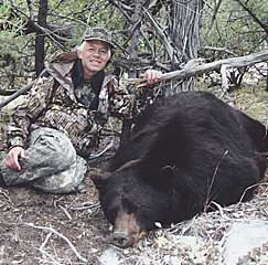 Donald Wenner with New Mexico's #6 black bear, taken in Catron County in 2005. (Photograph courtesy of the Boone and Crockett Club.)