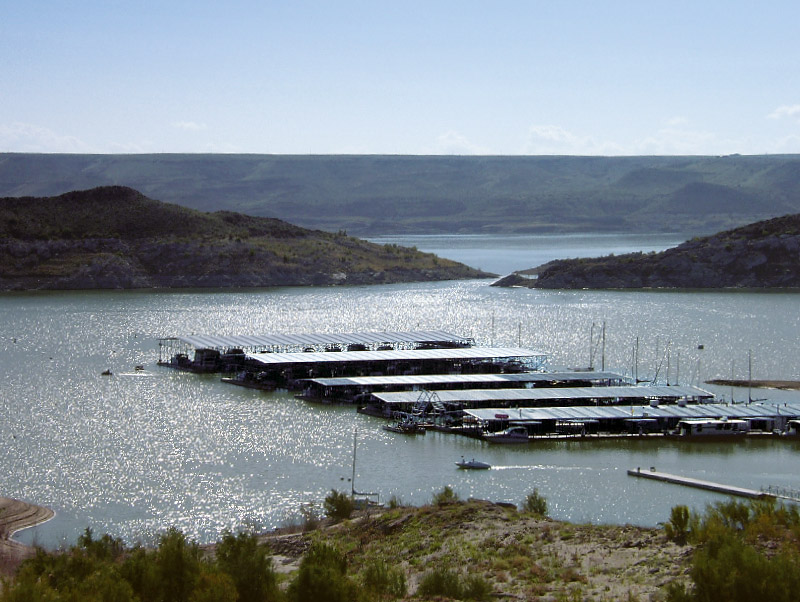 Learn about water recreation in New Mexico such as fishing & boating - shown is a marina at Elephant Butte.
