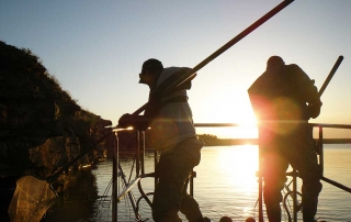 Evening bass survey on Ute Lake - (New Mexico Game and Fish).