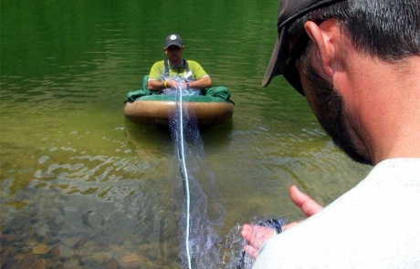 Setting a gill net to survey a timberline lake in the Pecos Wilderness - (New Mexico Game and Fish).