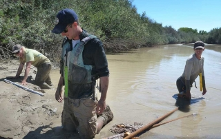 New Mexico Game and Fish biologists trudging through the mud to conduct a seining survey.