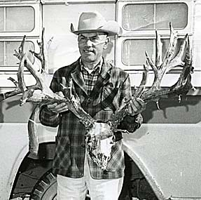 New Mexico record nontypical mule deer, taken by Joseph A. Garcia in Rio Arriba County, 1963. (Photograph courtesy of the Boone and Crockett Club)