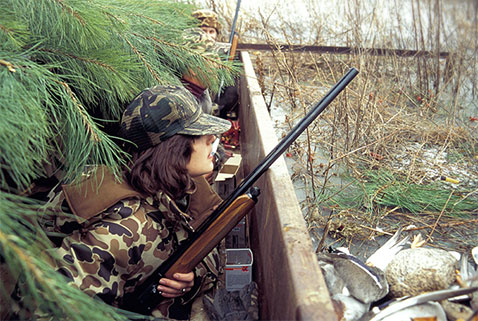 Duck hunting in blind - more opportunities with Open Gate public access to private land property, New Mexico Game and Fish