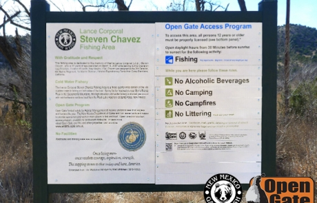 Open Gate Property 125  LCpl. Steven Chavez Memorial Fishing Area sign, Hondo, NM