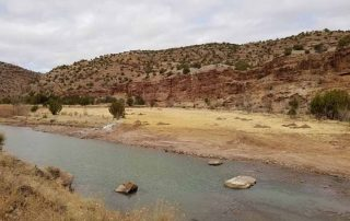 Habitat rocks and new flood plain area ready for cottonwood tree planting
